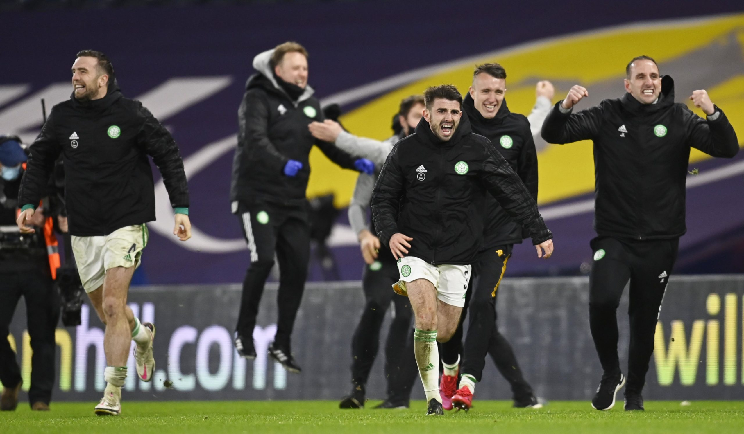 Shane Duffy (left) celebrates with his Celtic teammates at Hampden
