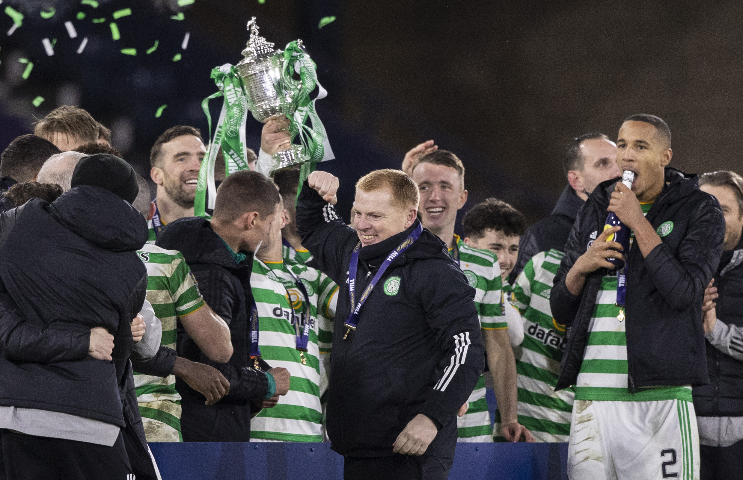 Celtic manager Neil Lennon with the Scottish Cup