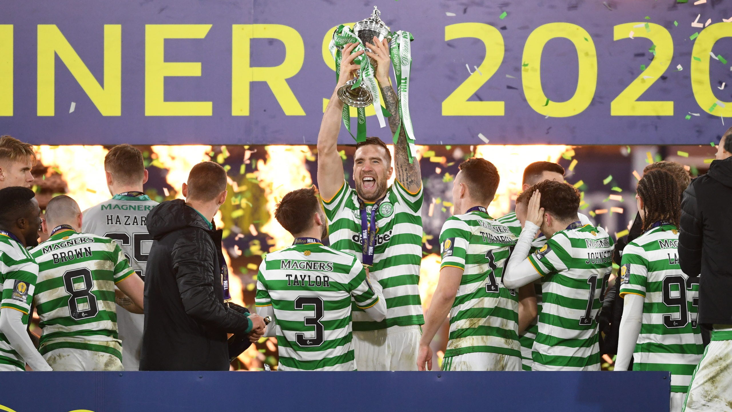 Celtic's Shane Duffy lifts the Scottish Cup