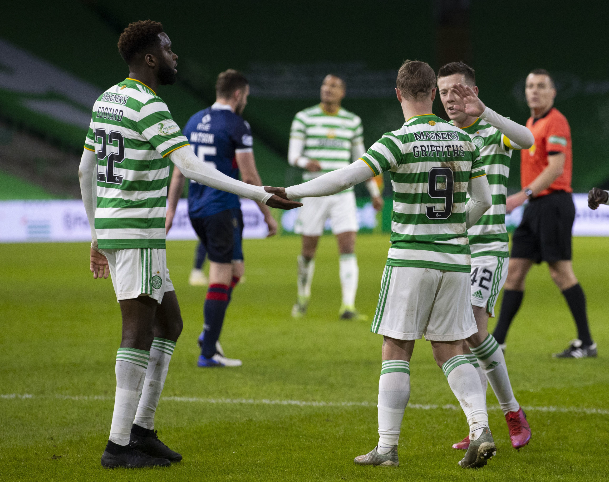 Celtic striker Leigh Griffiths celebrates against Ross County