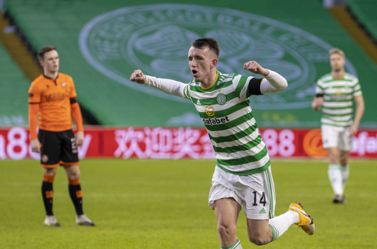 Celtic midfielder David Turnbull celebrates against Dundee United