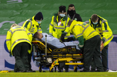 Chris Jullien is injured at Celtic Park