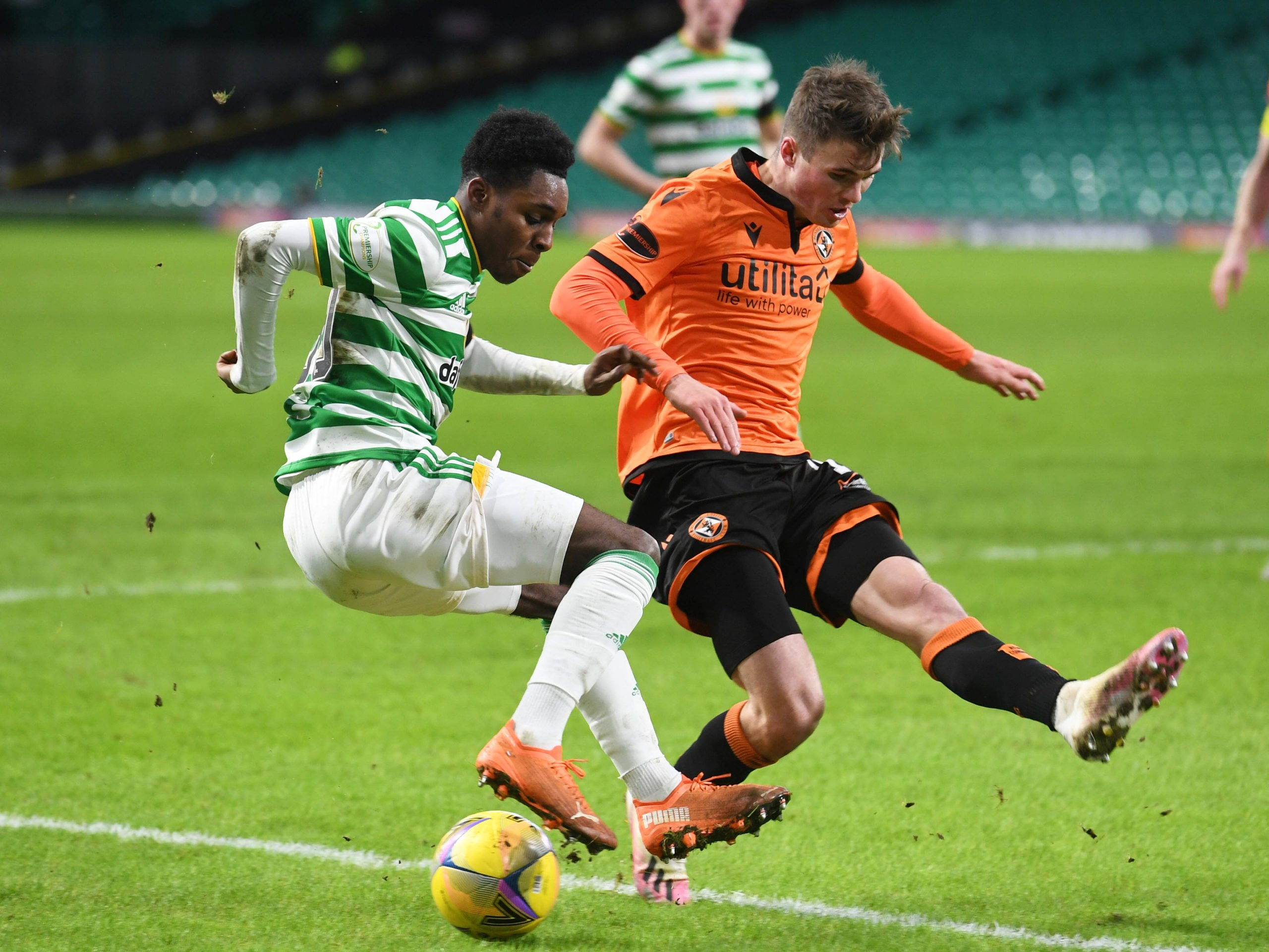 Celtic star Jeremie Frimpong against Dundee United