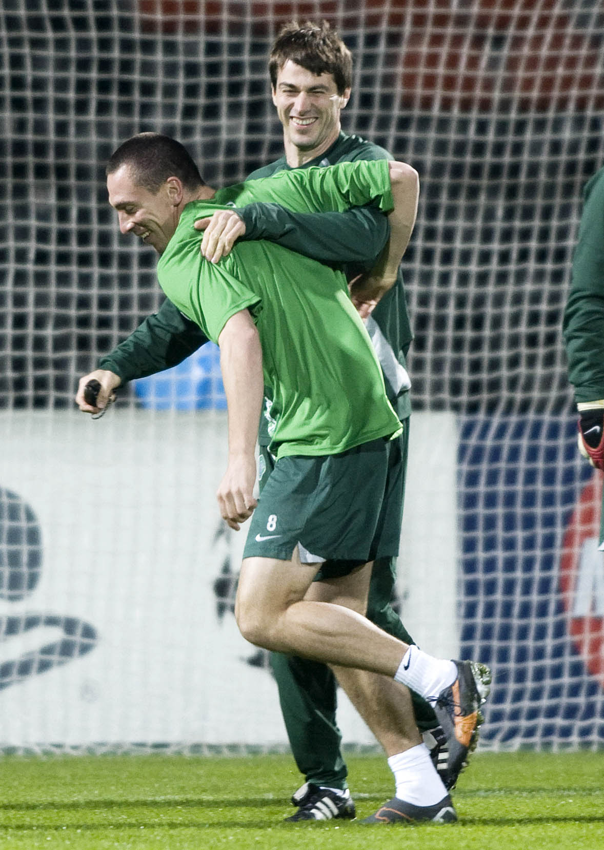 Gregory Dupont with current Celtic captain Scott Brown