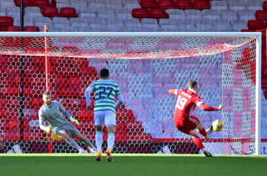 Lewis Ferguson scores a penalty for Aberdeen against Celtic