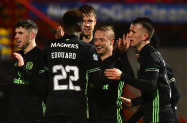 Leigh Griffiths celebrates with Celtic teammate Odsonne Edouard