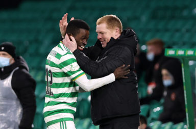 Celtic manager Neil Lennon with Ismaila Soro