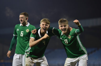 Ben Wylie celebrates with Northern Ireland