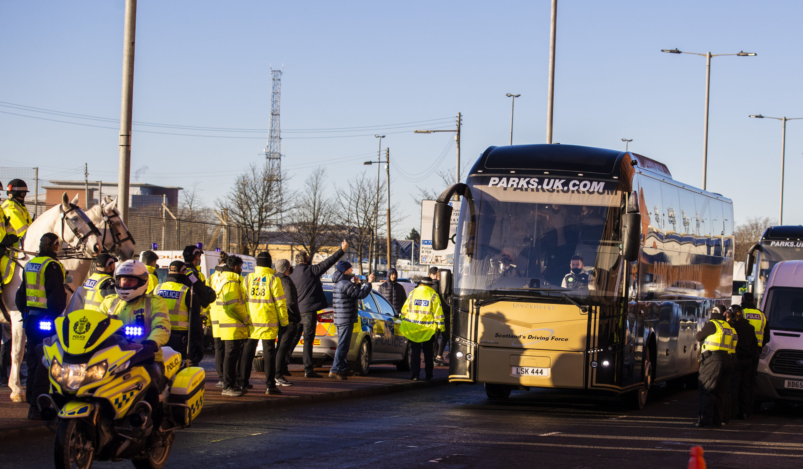 The Celtic bus arrives at Ibrox