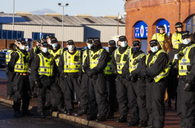 Police were in attendance as Celtic arrived to play Rangers