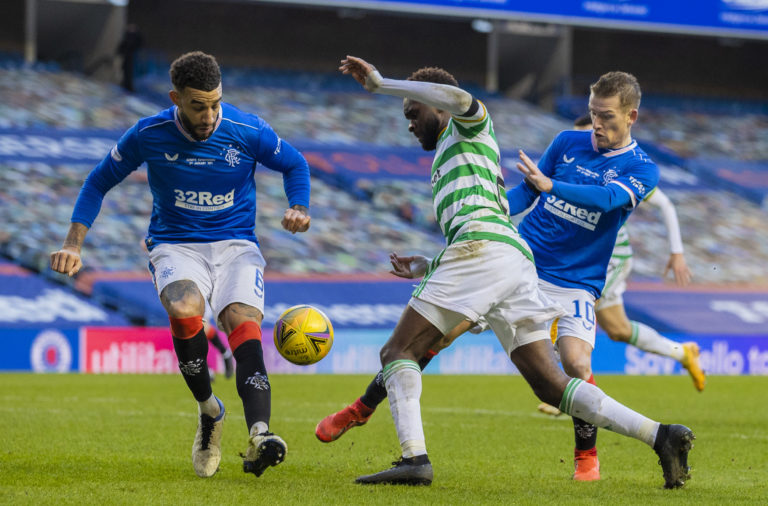 Odsonne Edouard tries to break through for Celtic at Ibrox