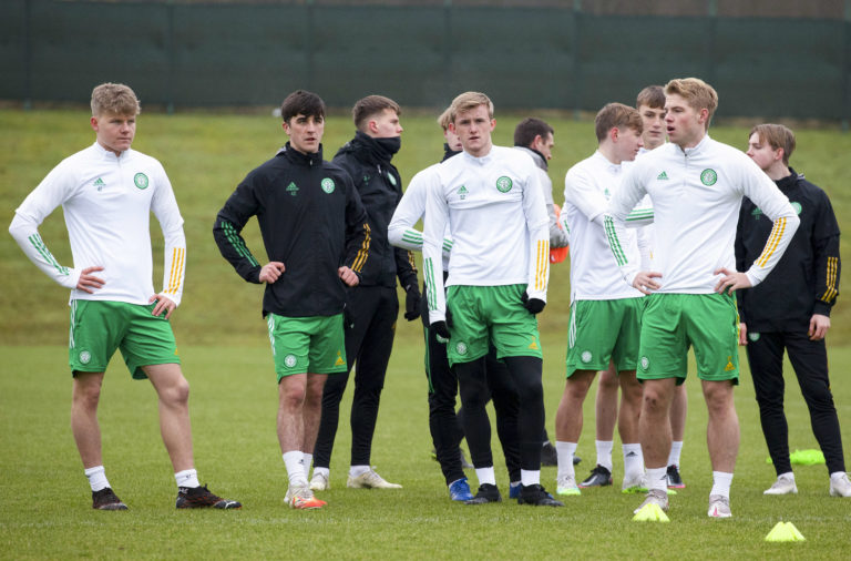 Celtic youngsters training at Lennoxtown