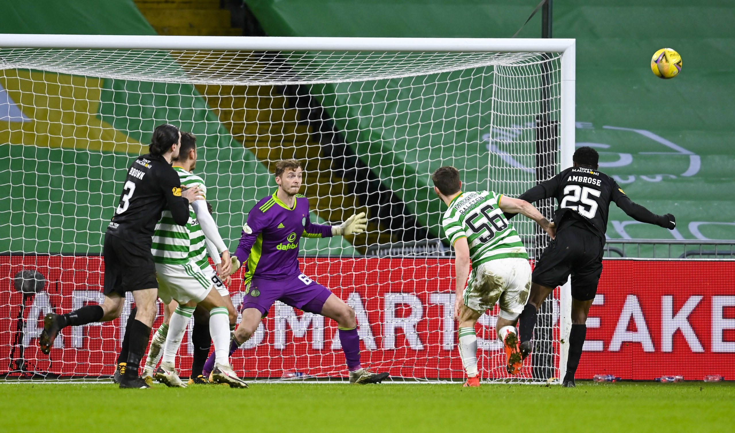 Efe Ambrose spurns a glorious chance for Livingston at Celtic Park