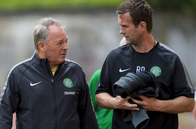 05/07/14.CELTIC TRAINING.AUSTRIA.Celtic manager Ronny Deila chats with scouting chief John Park (left) at training