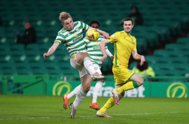 Celtic and Hibernian battle it out last night