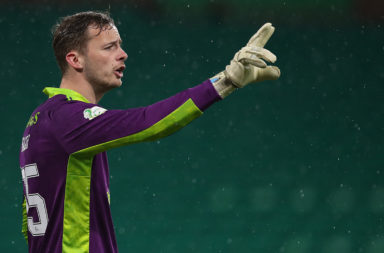 Conor Hazard in goal for Celtic vs Hibernian