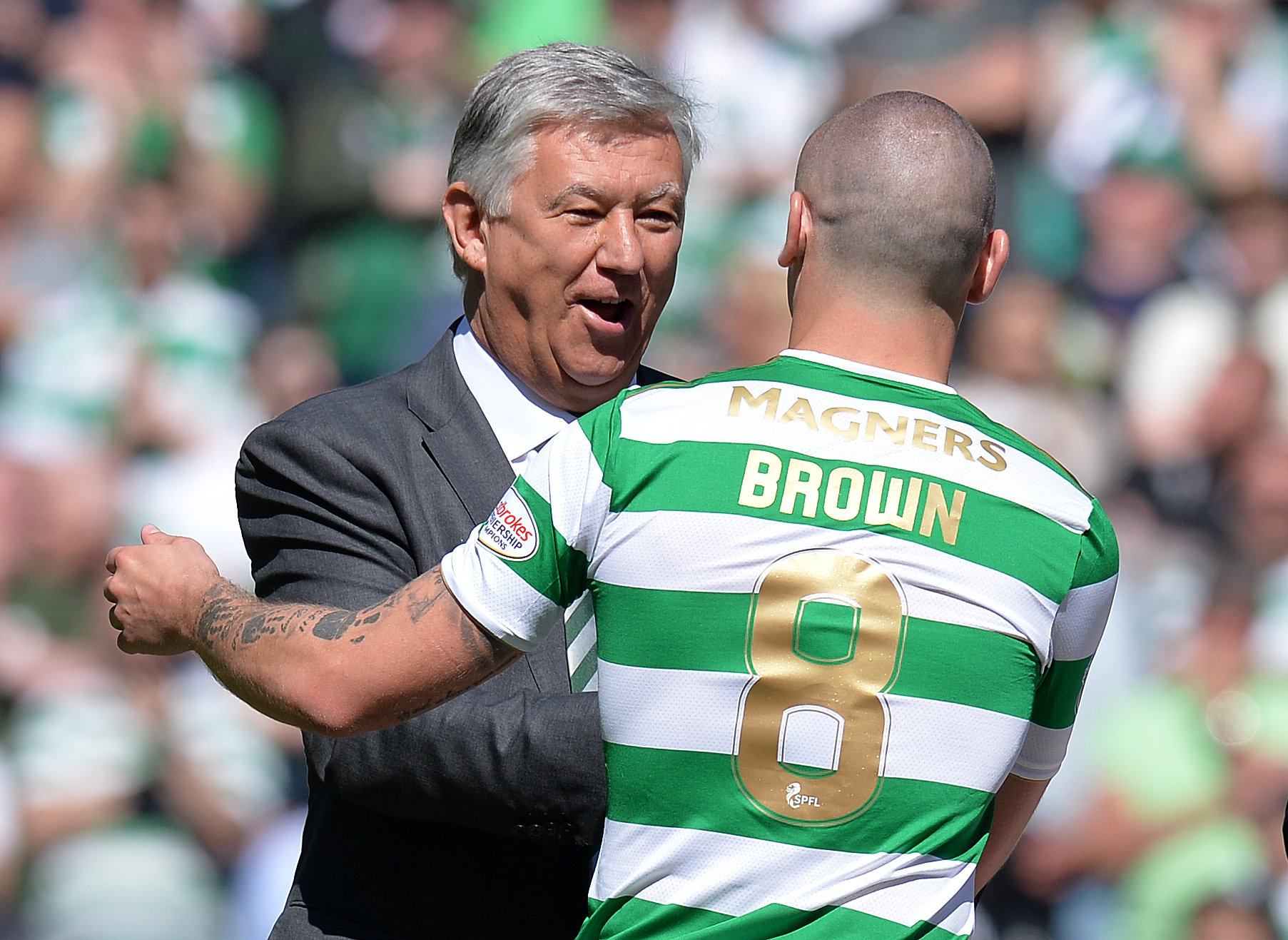 Celtic captain Scott Brown and Peter Lawwell
