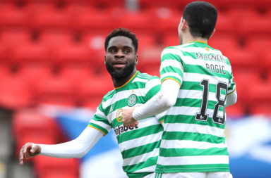 Odsonne Edouard and Tom Rogic celebrate as Celtic win their fourth successive game