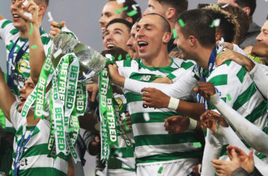 Scott Brown celebrates another Celtic trophy win