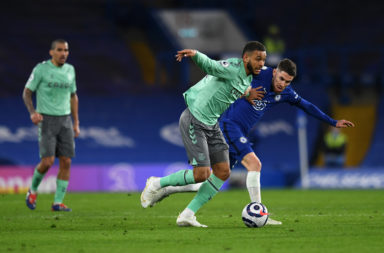 Joshua King in action for Everton