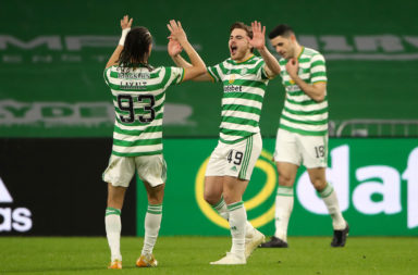 James Forrest celebrates scoring for Celtic vs Falkirk