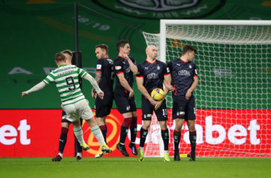 Leigh Griffiths in action for Celtic vs Falkirk