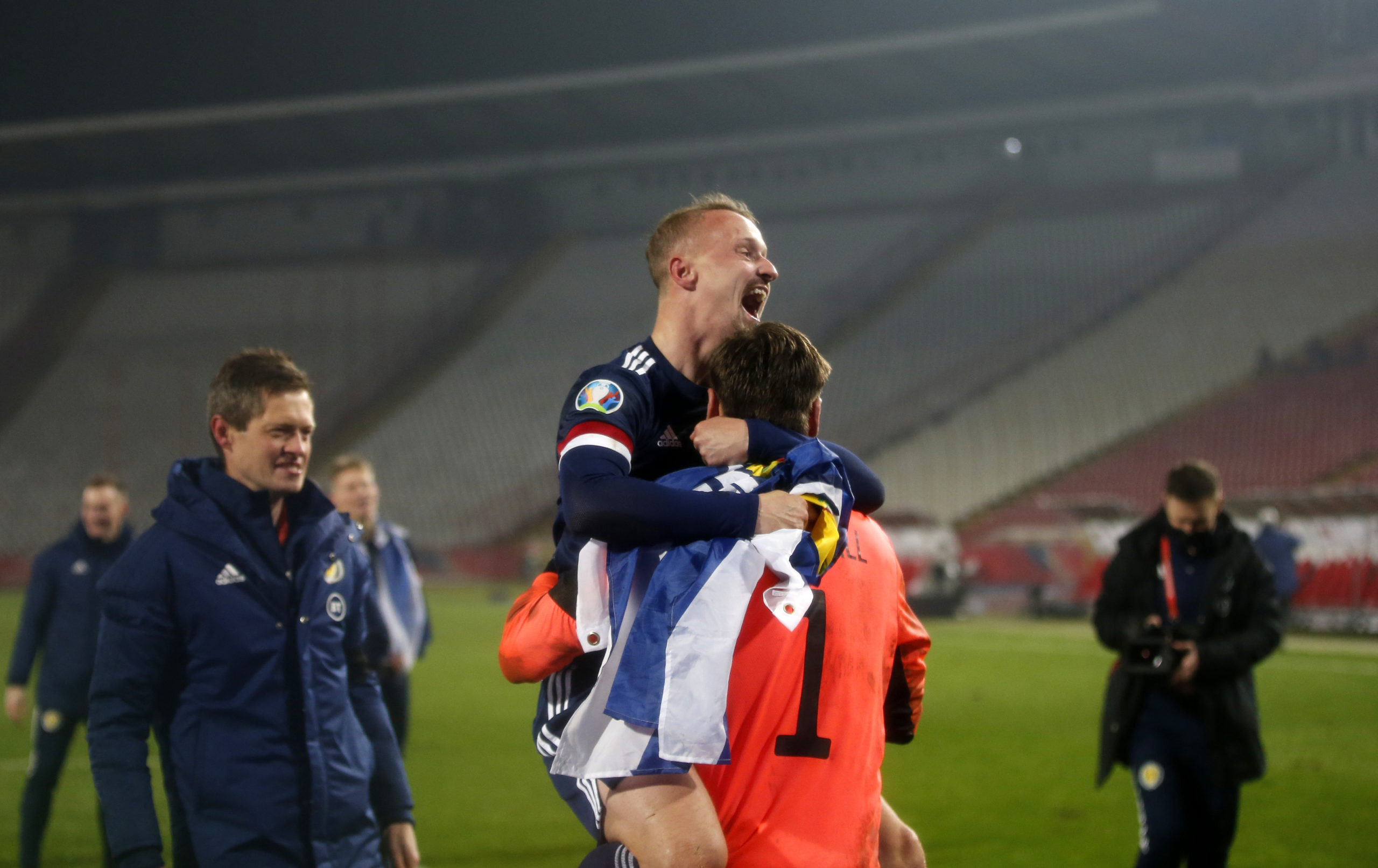 Celtic Leigh Griffiths celebrates in Serbia