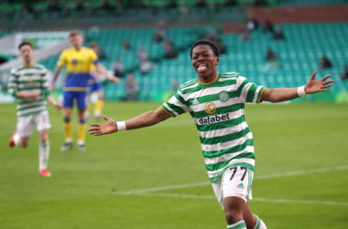 Celtic youngsters Karamoko Dembele celebrates his first Celtic goal