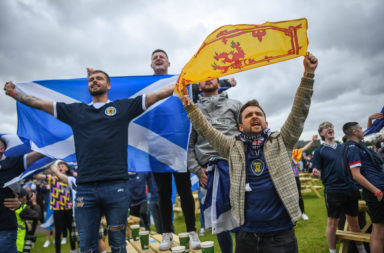 Football Fans Gather In Glasgow To Watch Scotland's Debut Euro 2020 Match