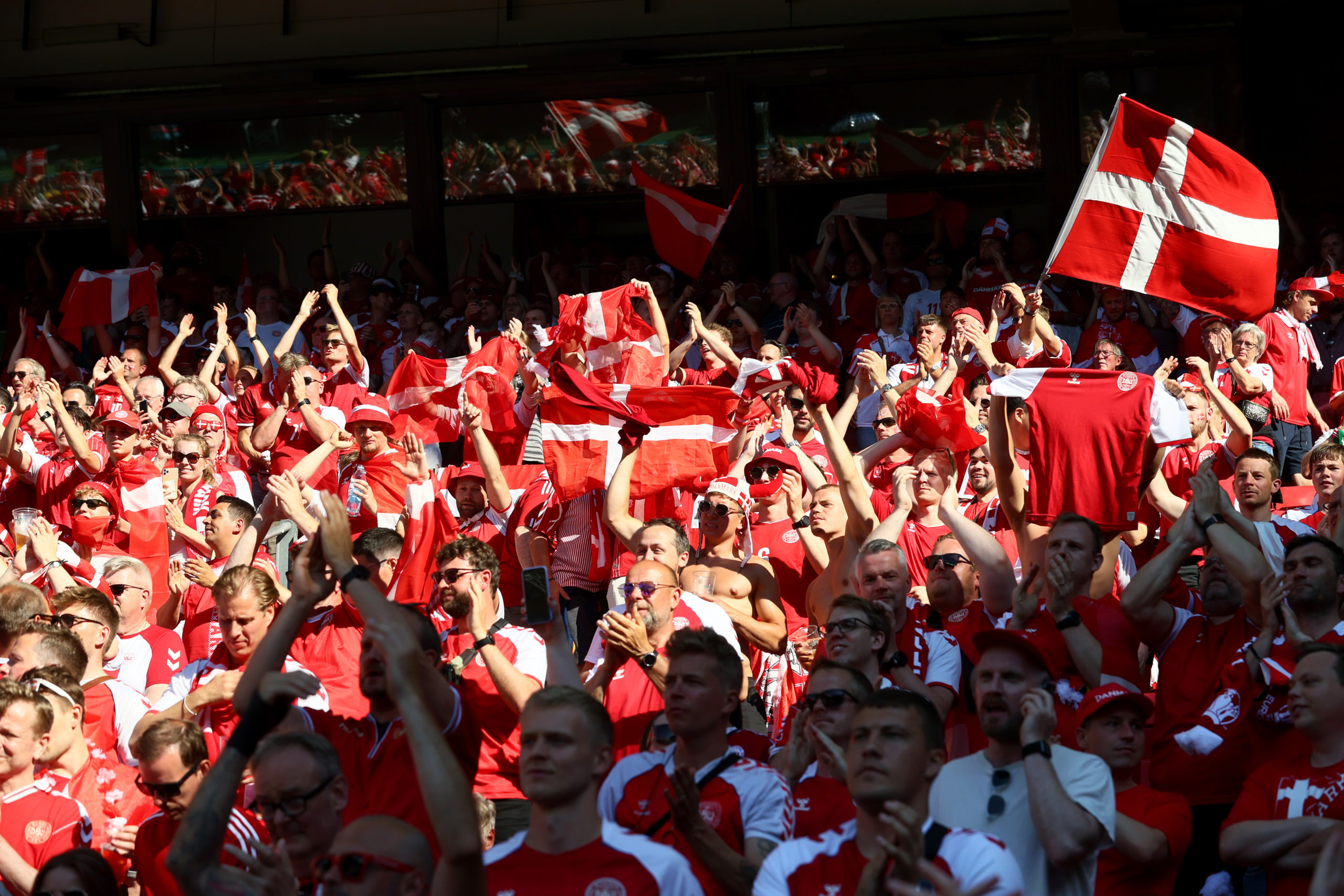 Denmark fans at the Belgium game