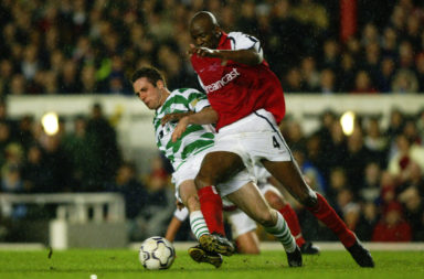 Mark Fotheringham of Celtic and Patrick Vieira of Arsenal